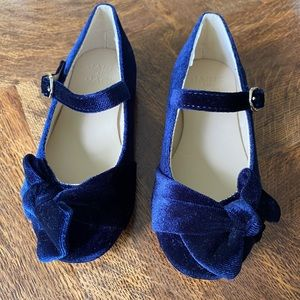 Blue velvet Janie + Jack toddler shoes